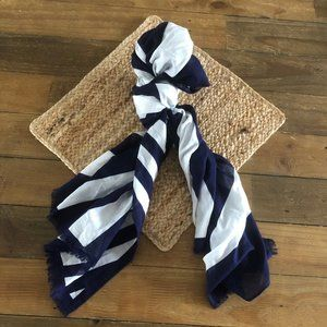 Talbots striped navy/white scarf 27 x 70 inches